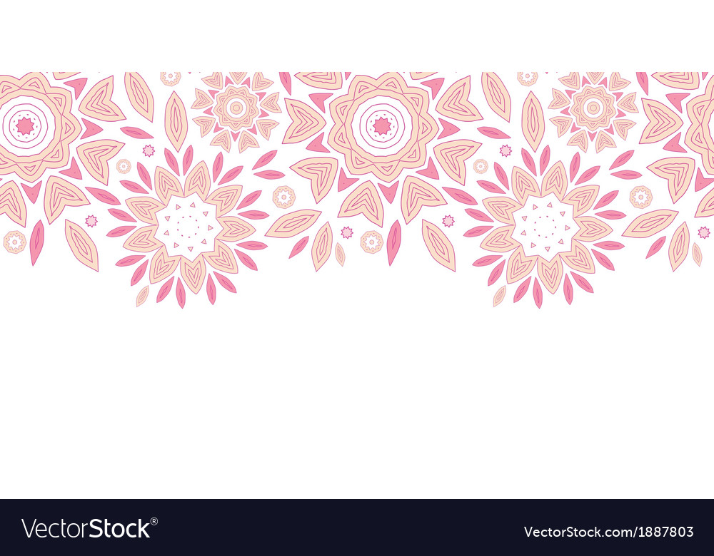 Pink abstract flowers horizontal seamless pattern vector | Price: 1 Credit (USD $1)