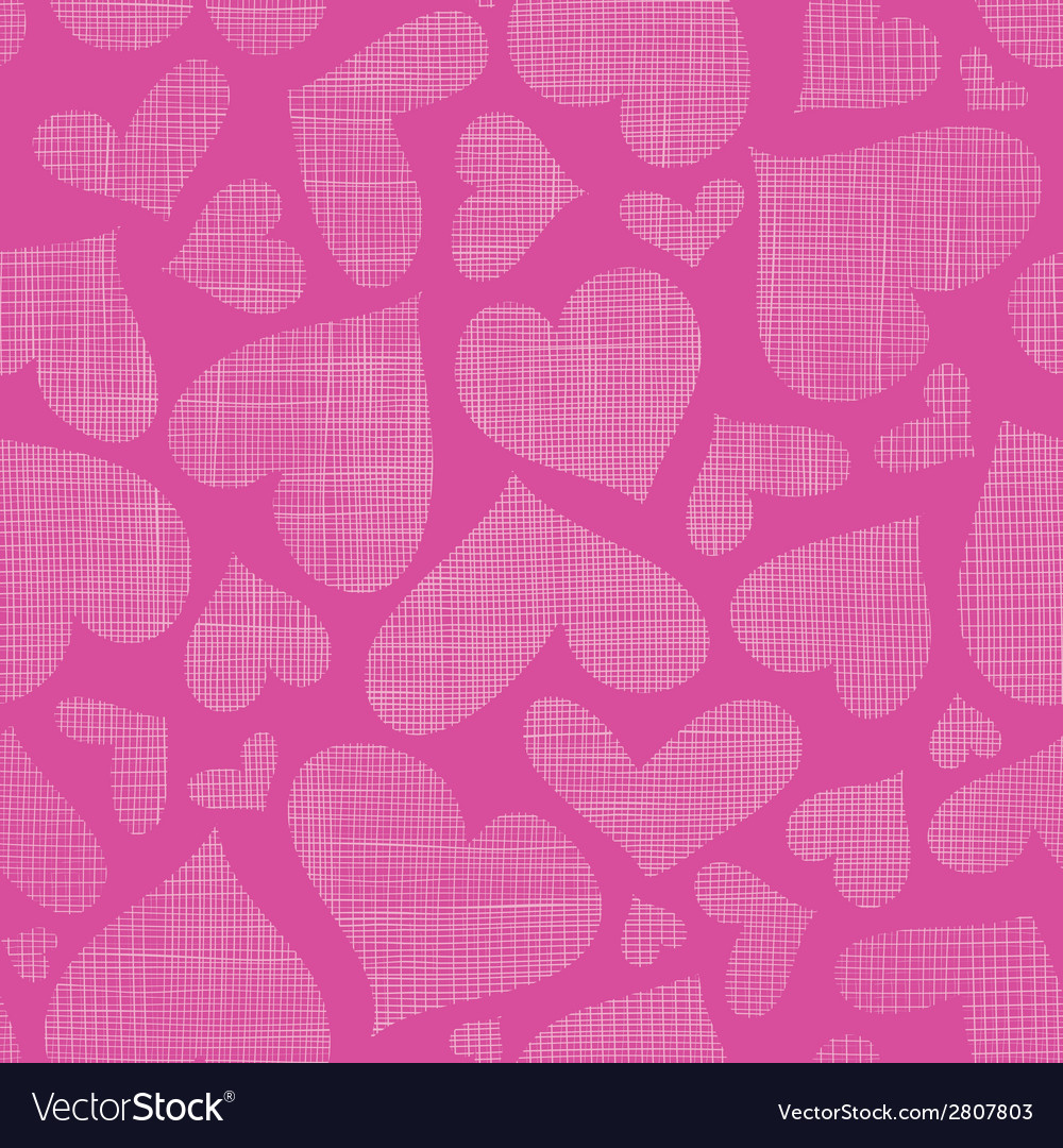 Pink lace hearts textile texture seamless pattern vector | Price: 1 Credit (USD $1)