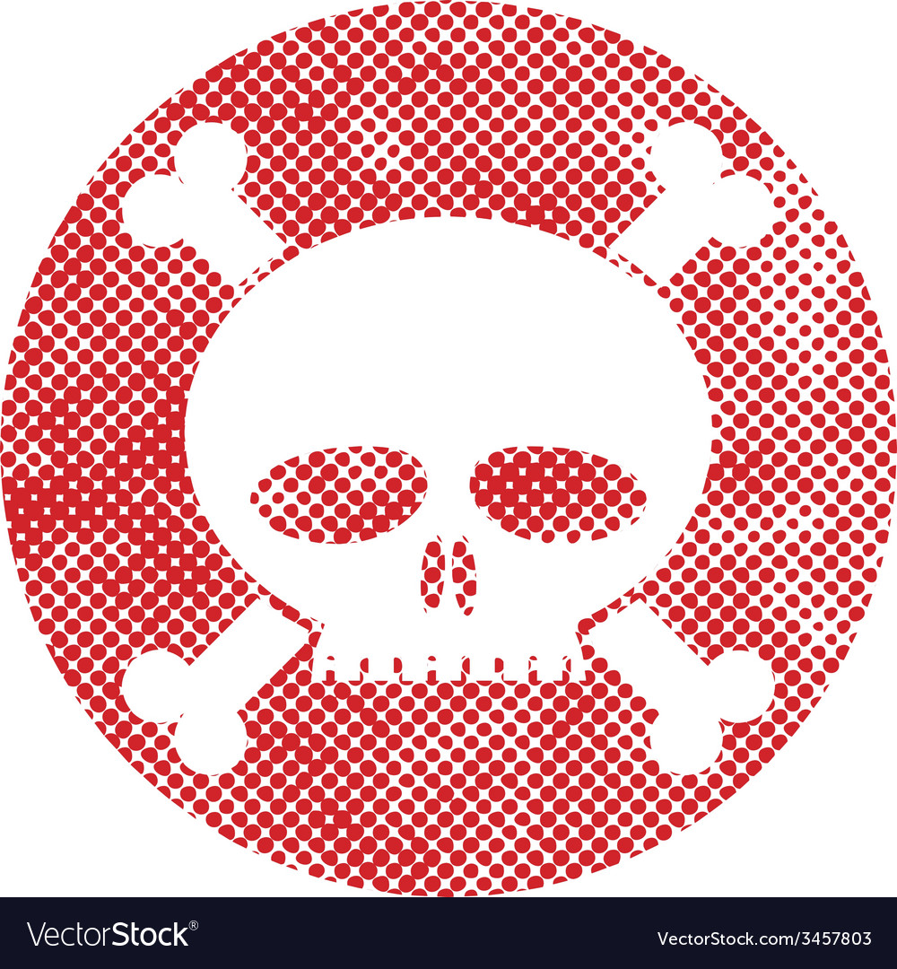 Skull icon with pixel print halftone dots texture vector | Price: 1 Credit (USD $1)