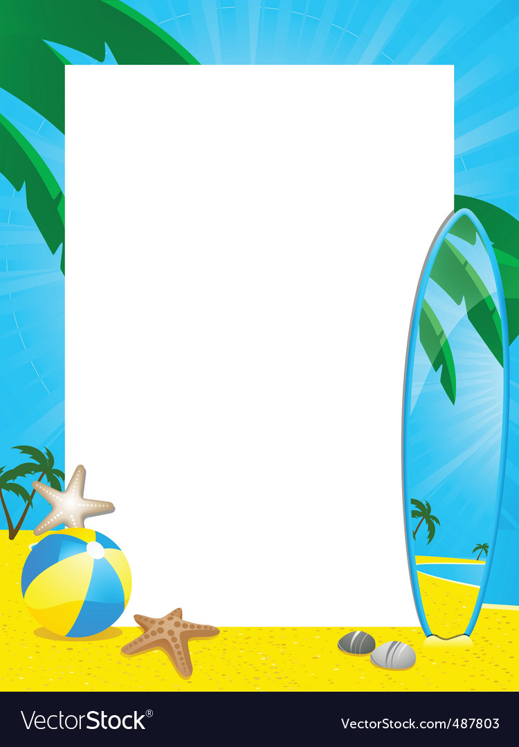 Summer border and surfboard vector | Price: 1 Credit (USD $1)