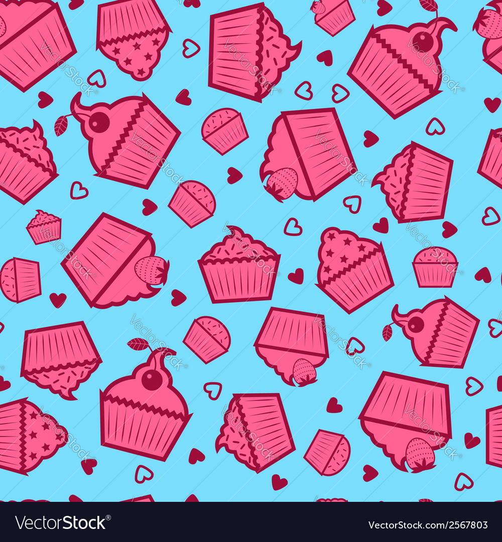 Sweet cupcake pattern vector | Price: 1 Credit (USD $1)