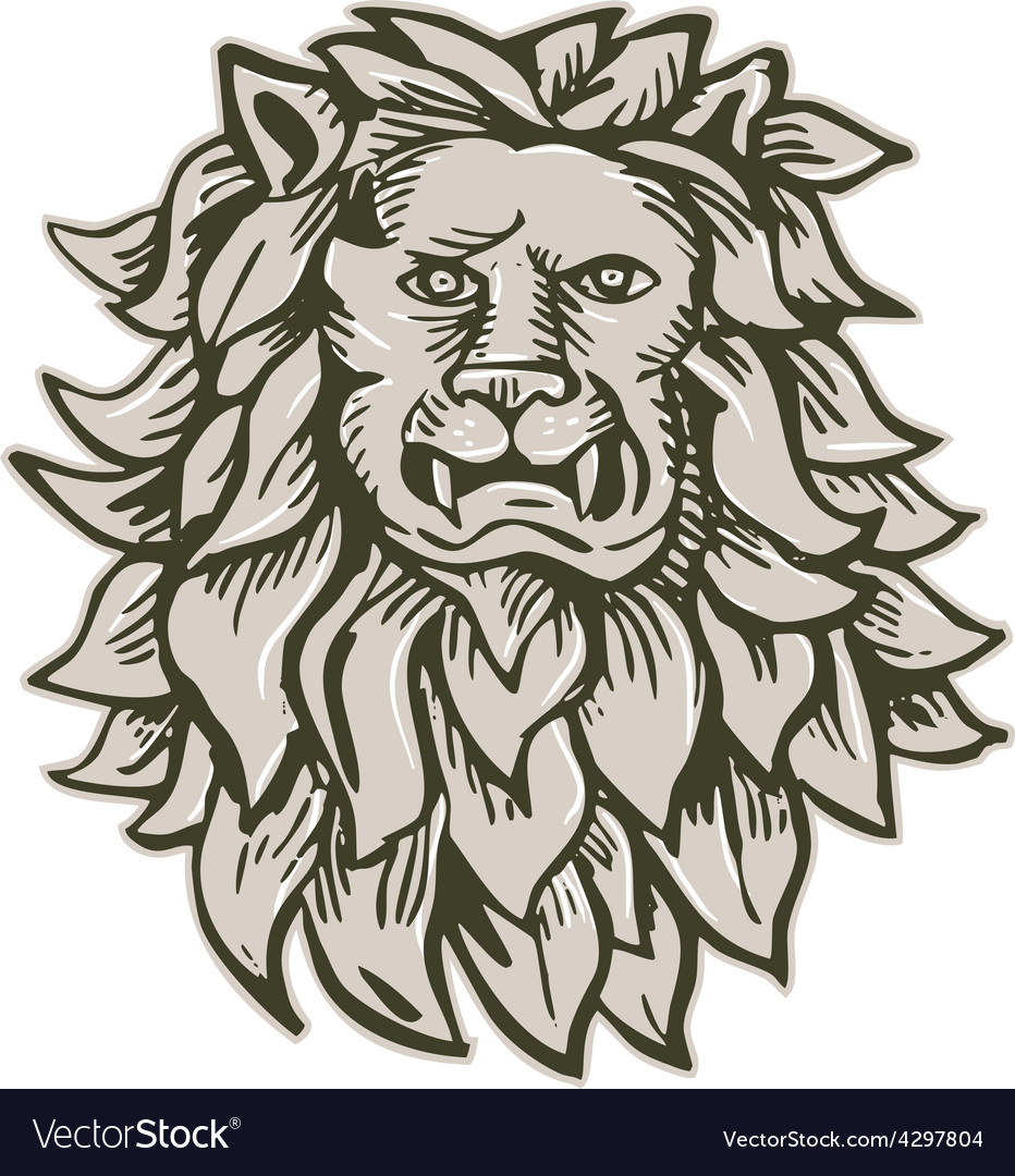 Angry lion big cat head etching vector | Price: 1 Credit (USD $1)