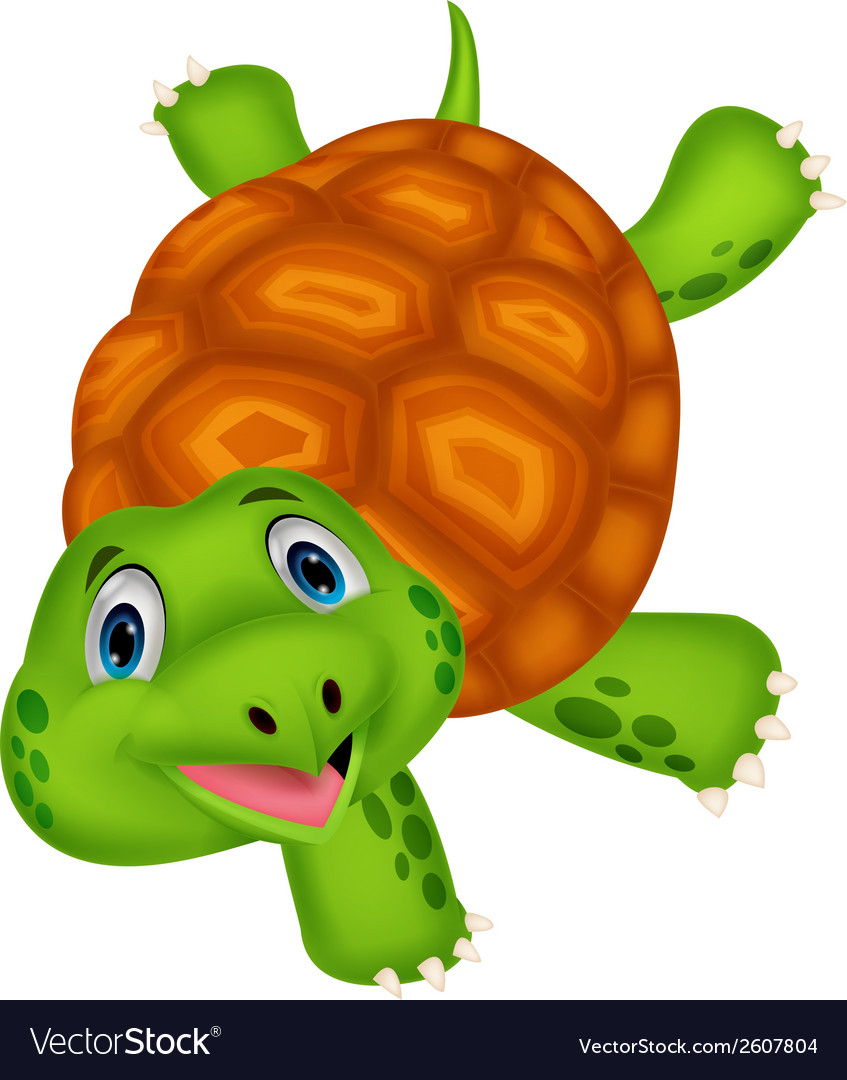 Cute turtle cartoon standing with hand vector | Price: 1 Credit (USD $1)