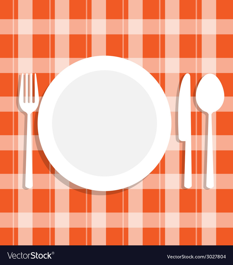 Cutlery dish on orange tablecloth vector | Price: 1 Credit (USD $1)