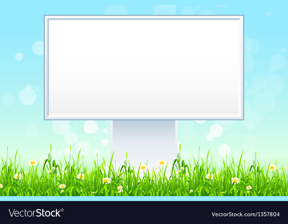 Empty billboard in the grass vector | Price: 1 Credit (USD $1)