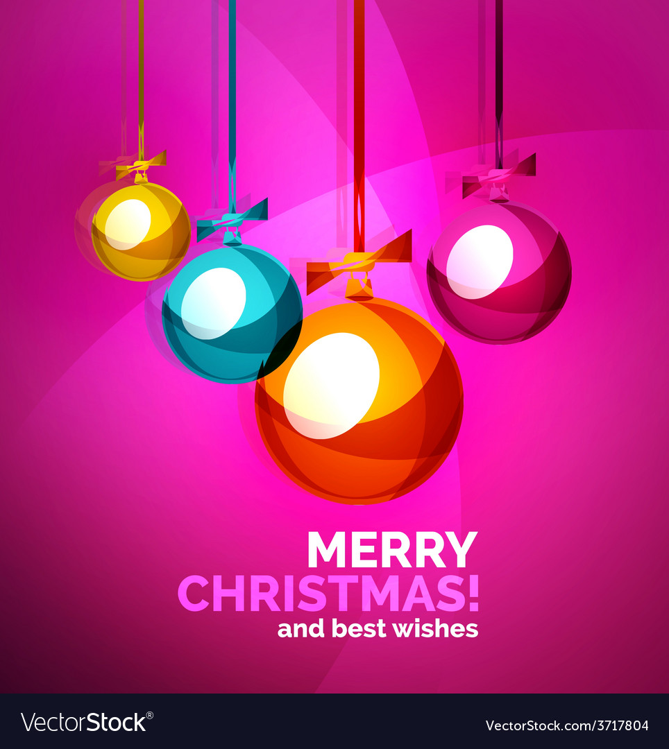 Glossy christmas baubles greeting card template vector | Price: 1 Credit (USD $1)