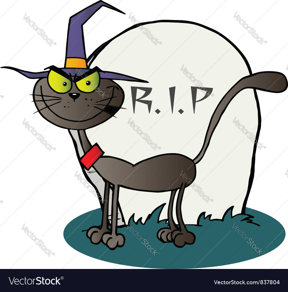 Halloween witch cat by a tombstone vector | Price: 1 Credit (USD $1)