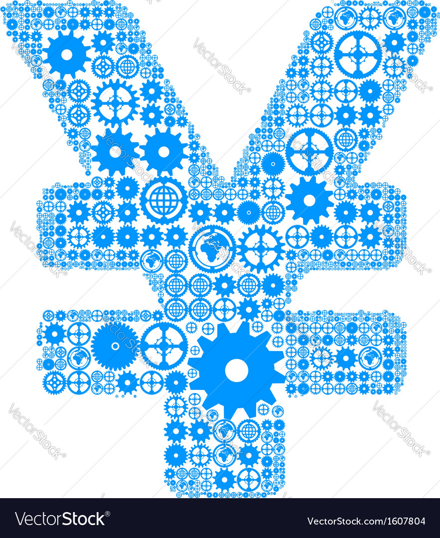 Japanese yen sign made of gears vector | Price: 1 Credit (USD $1)