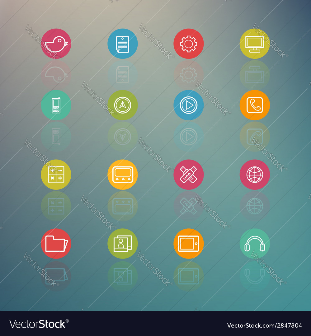 Media and mobile interface circle series on retina vector | Price: 1 Credit (USD $1)