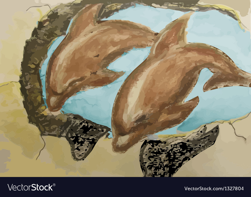 Old mural with dolphins vector | Price: 1 Credit (USD $1)