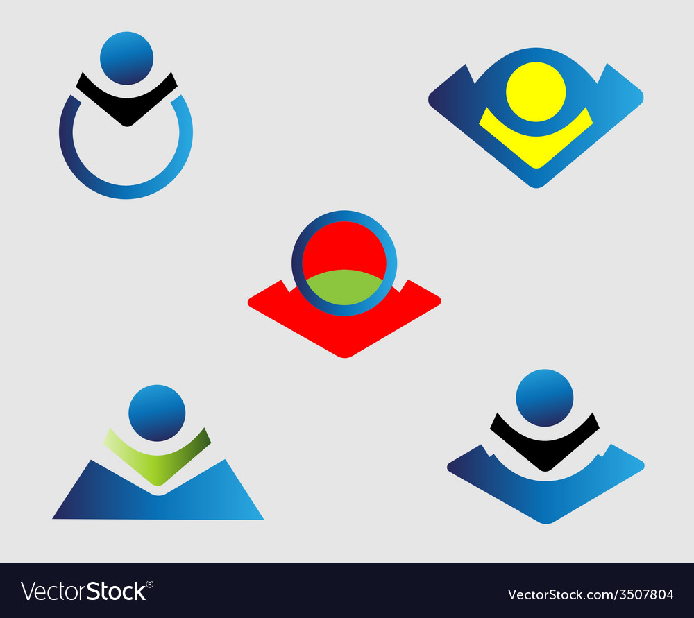 People icon logo element set vector | Price: 1 Credit (USD $1)