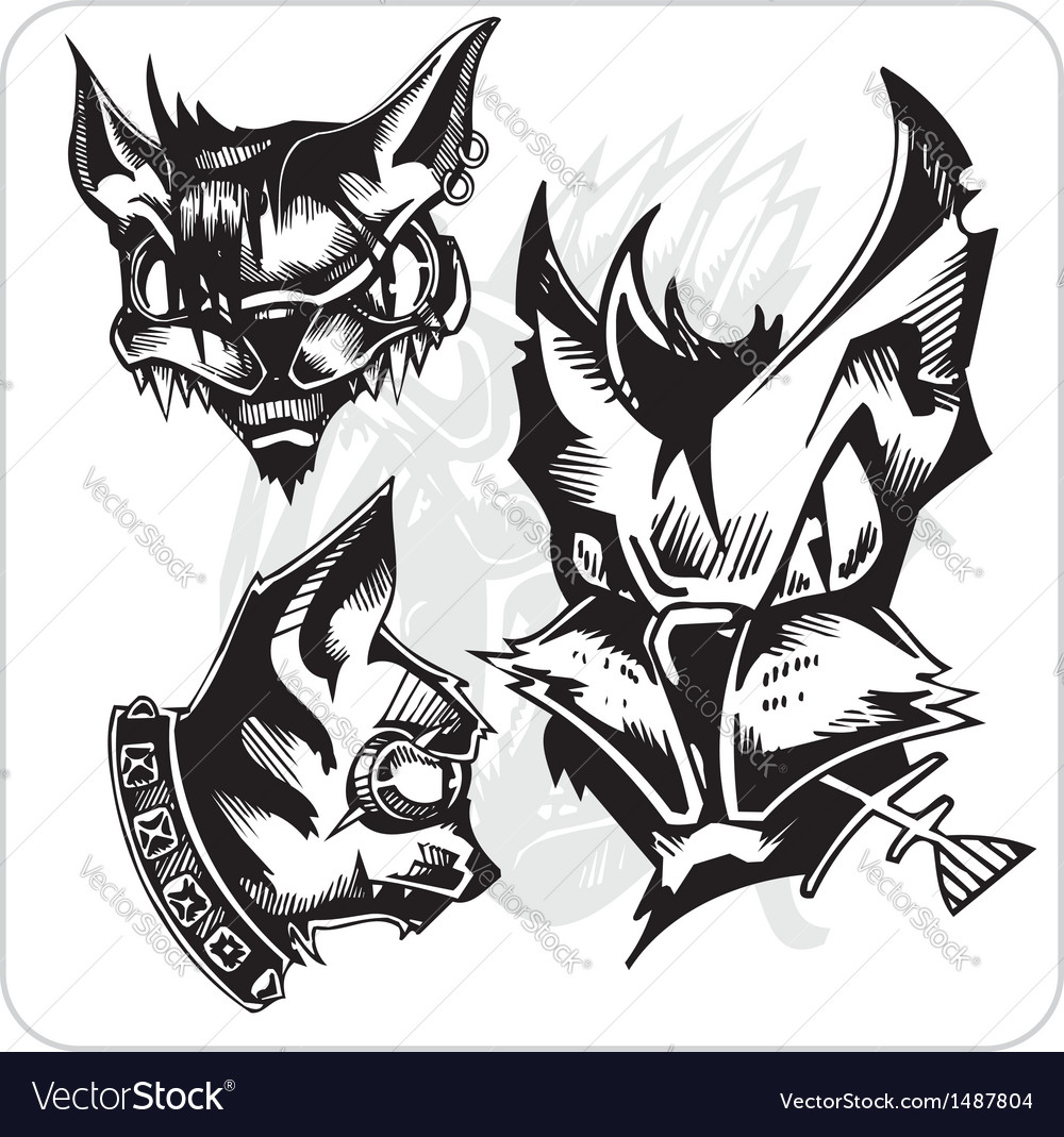 Set - aggressive cats vector | Price: 1 Credit (USD $1)