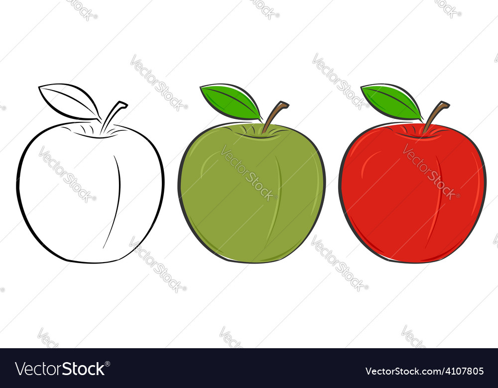 Apple outline green red vector | Price: 1 Credit (USD $1)