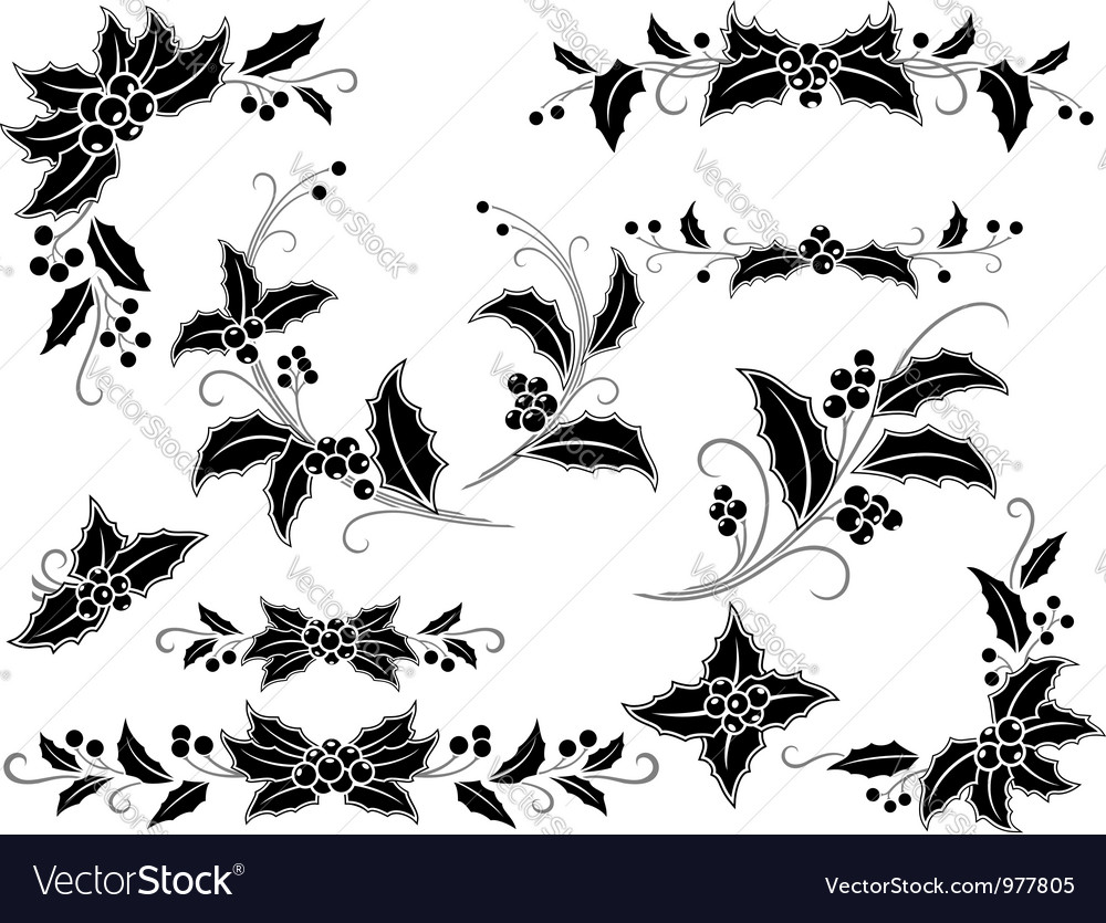 Black and white christmas holly decoration vector | Price: 1 Credit (USD $1)
