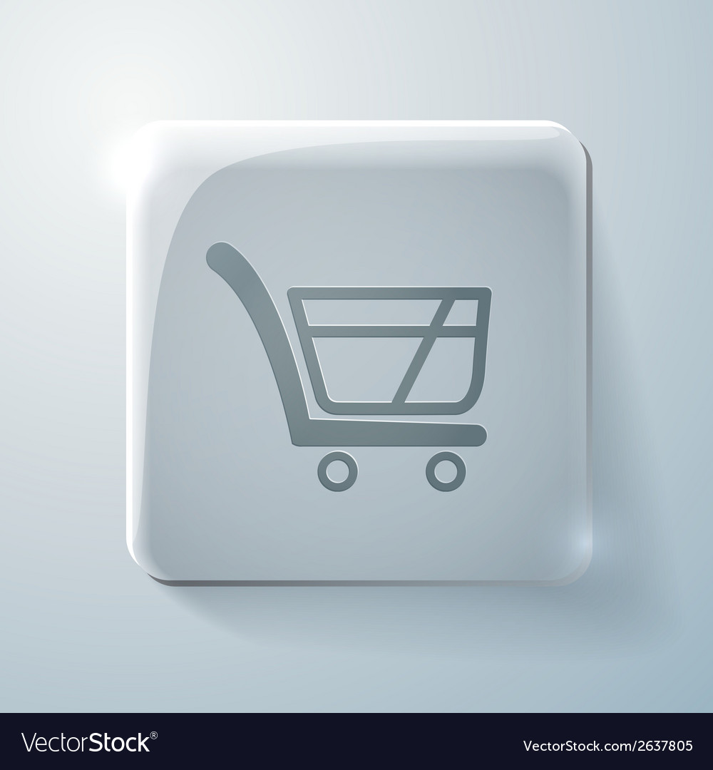 Cart online store glass square icon vector | Price: 1 Credit (USD $1)