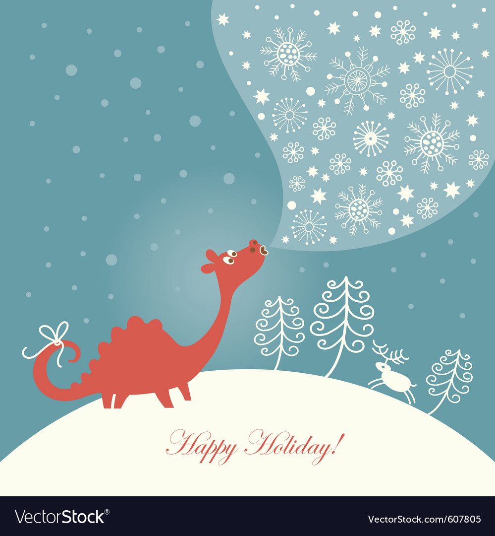 Cute dragon christmas card vector | Price: 1 Credit (USD $1)