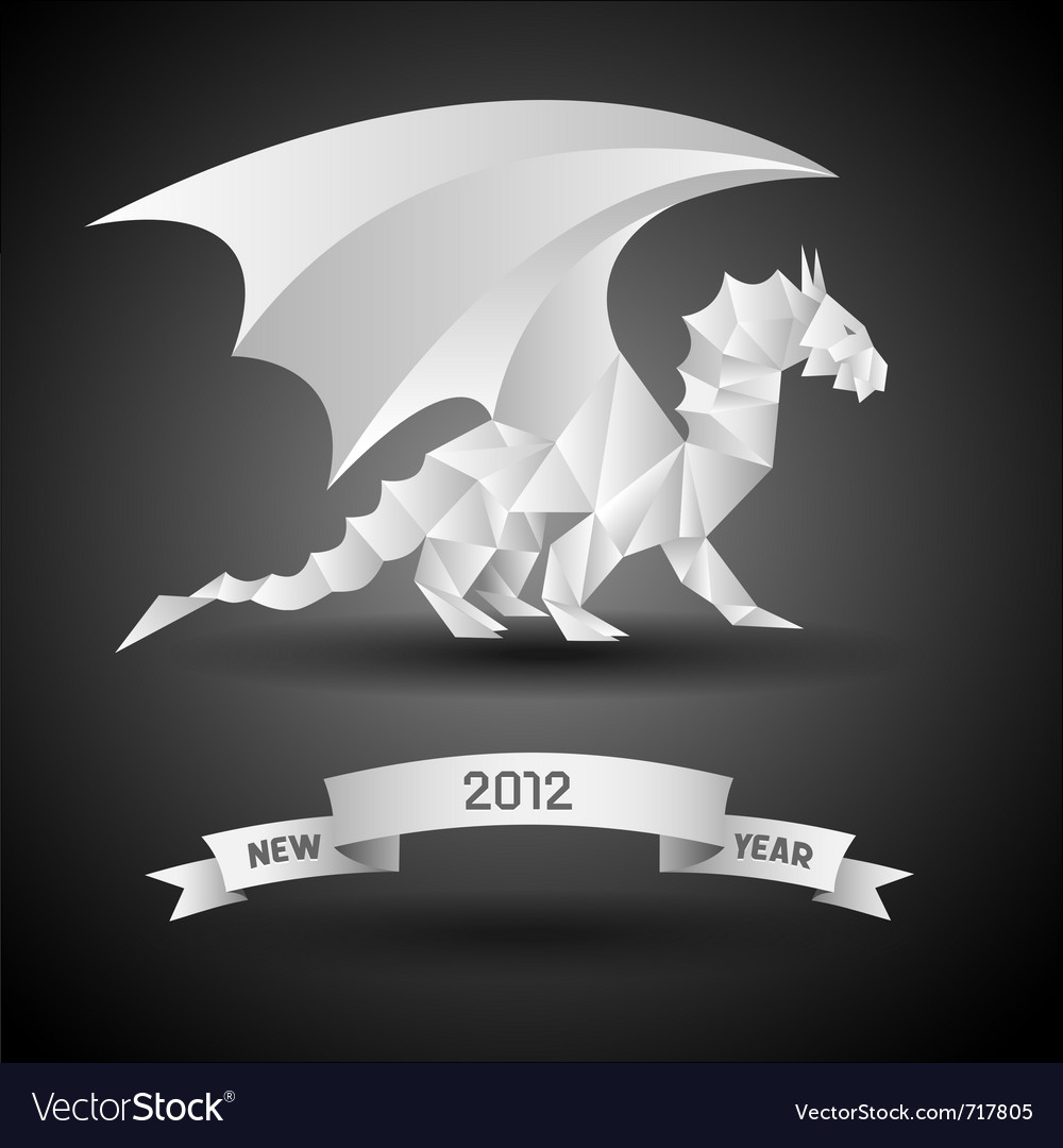 Dragon with banner new year 2012 origami vector | Price: 1 Credit (USD $1)