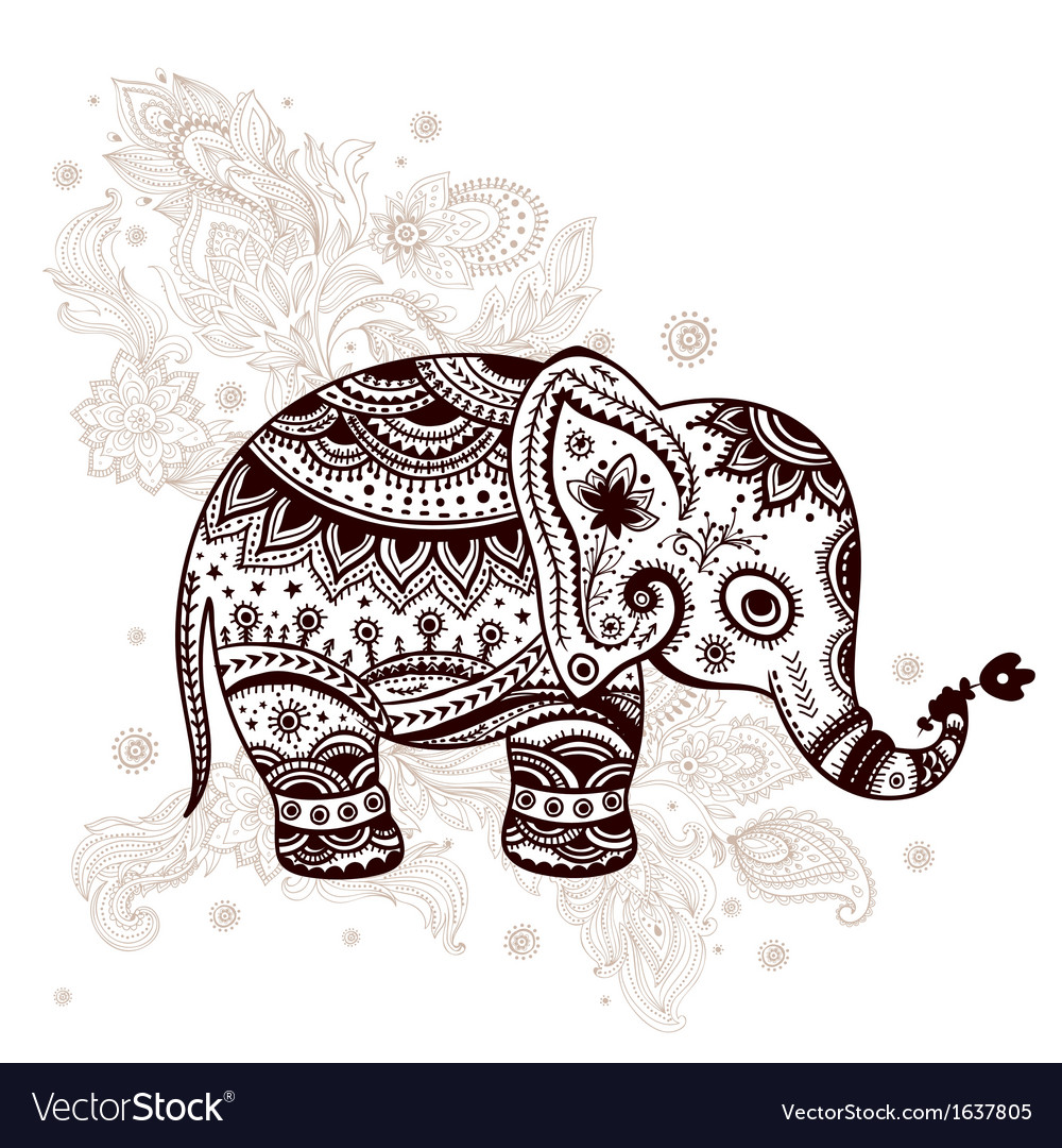Ethnic elephant vector | Price: 1 Credit (USD $1)