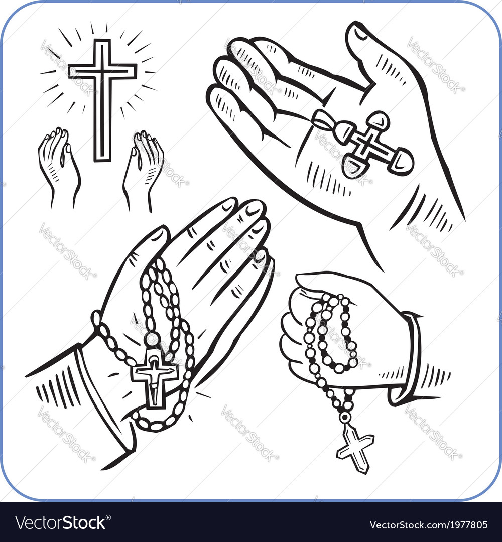 Hands and crosses - vector | Price: 1 Credit (USD $1)
