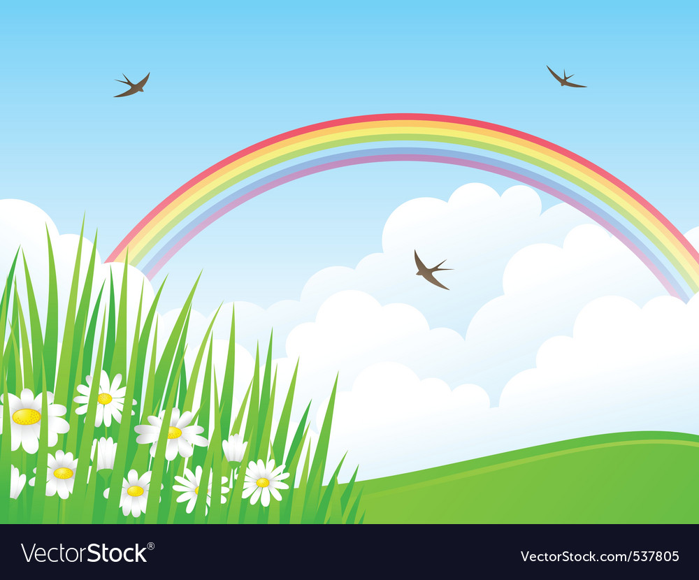 Landscape with a rainbow vector | Price: 1 Credit (USD $1)