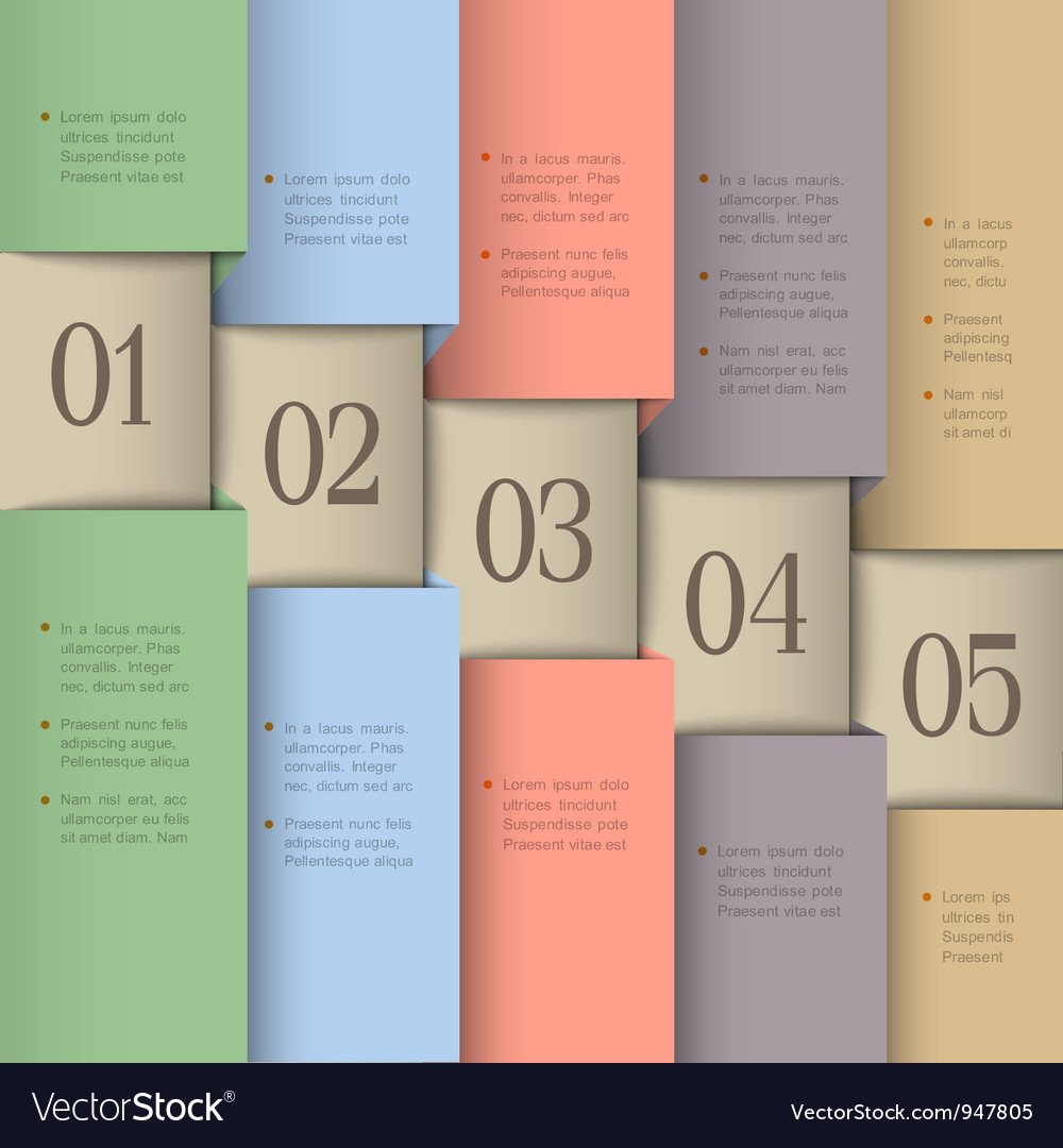 Paper numbered banners in pastel colors vector | Price: 1 Credit (USD $1)