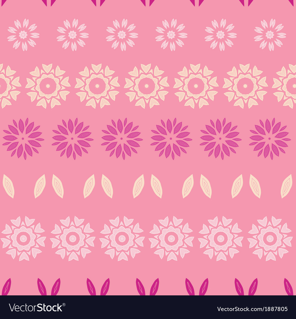 Pink abstract flowers stripes seamless pattern vector | Price: 1 Credit (USD $1)