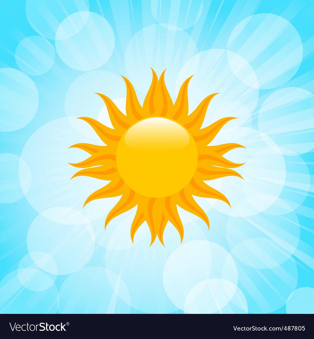 Summer sun in blue sky vector   Price: 1 Credit (USD $1)