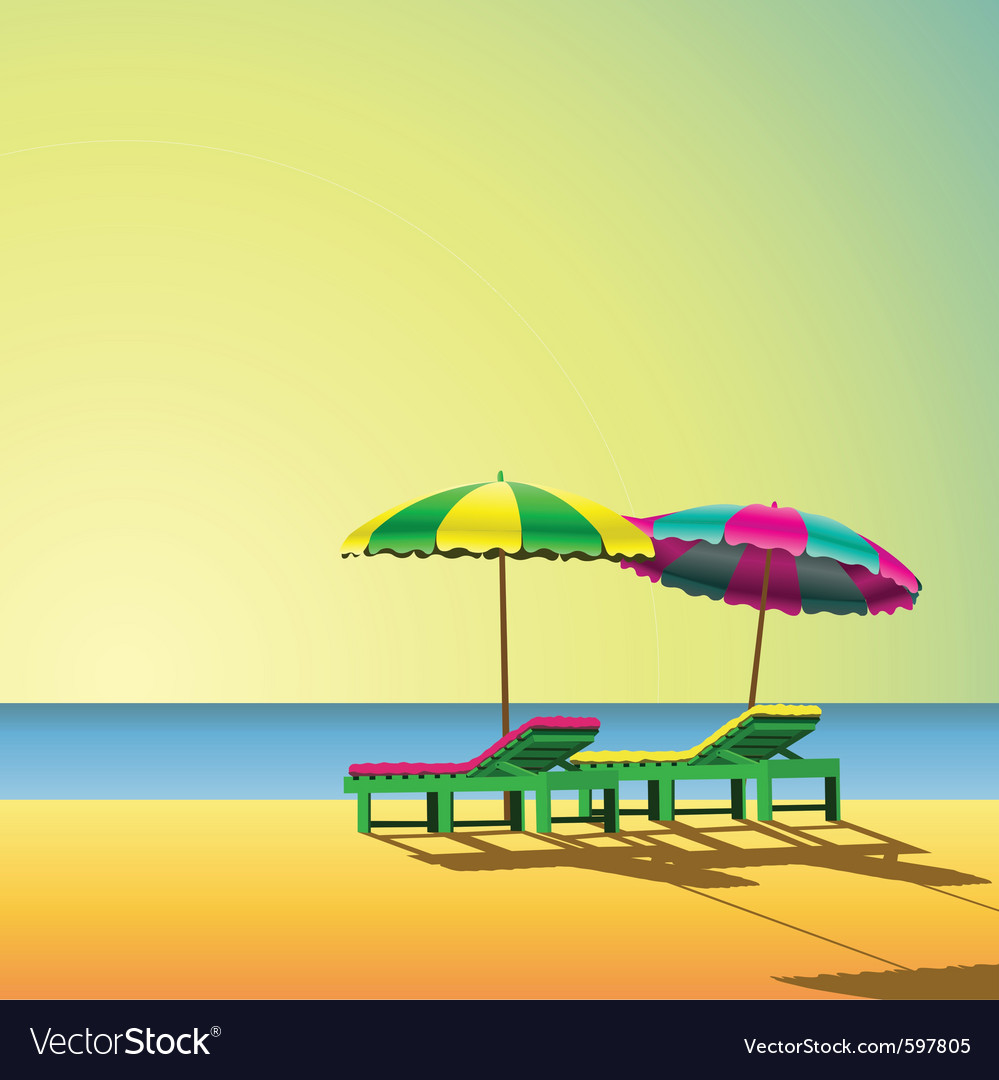 Sun loungers vector | Price: 3 Credit (USD $3)