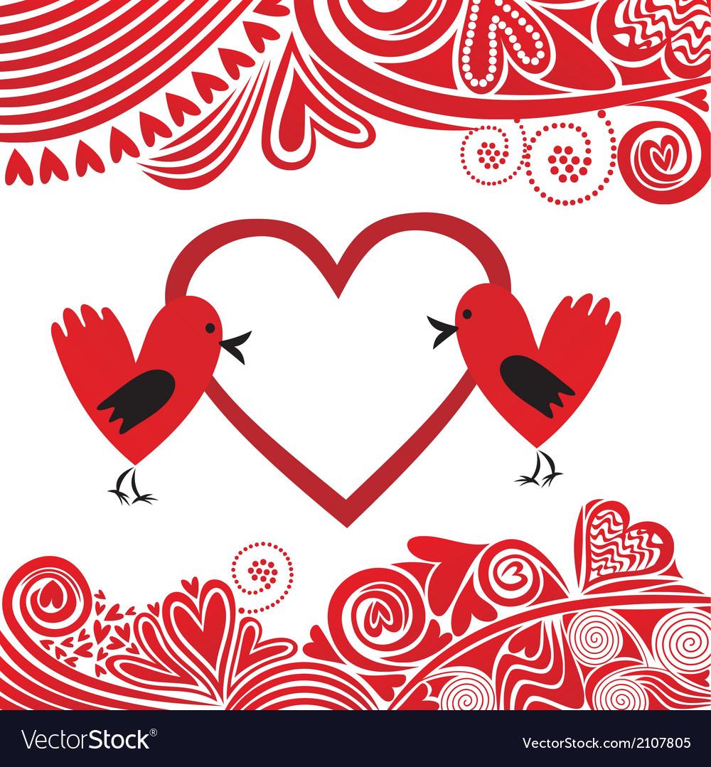 Valentines day card bird hearts vector | Price: 1 Credit (USD $1)