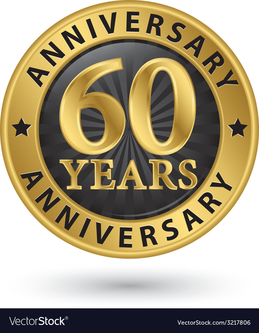 60 years anniversary gold label vector | Price: 1 Credit (USD $1)