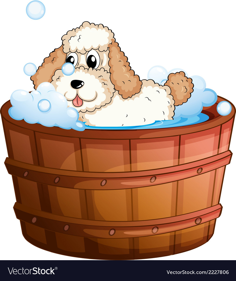 A brown bathtub with a dog taking a bath vector | Price: 1 Credit (USD $1)