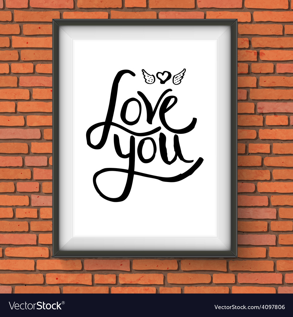 Black text design for love you concept on a frame vector | Price: 1 Credit (USD $1)