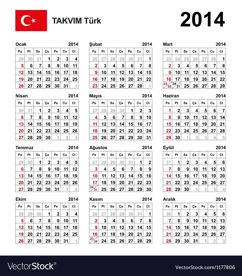 Calendar 2014 turkey type 21 vector | Price: 1 Credit (USD $1)