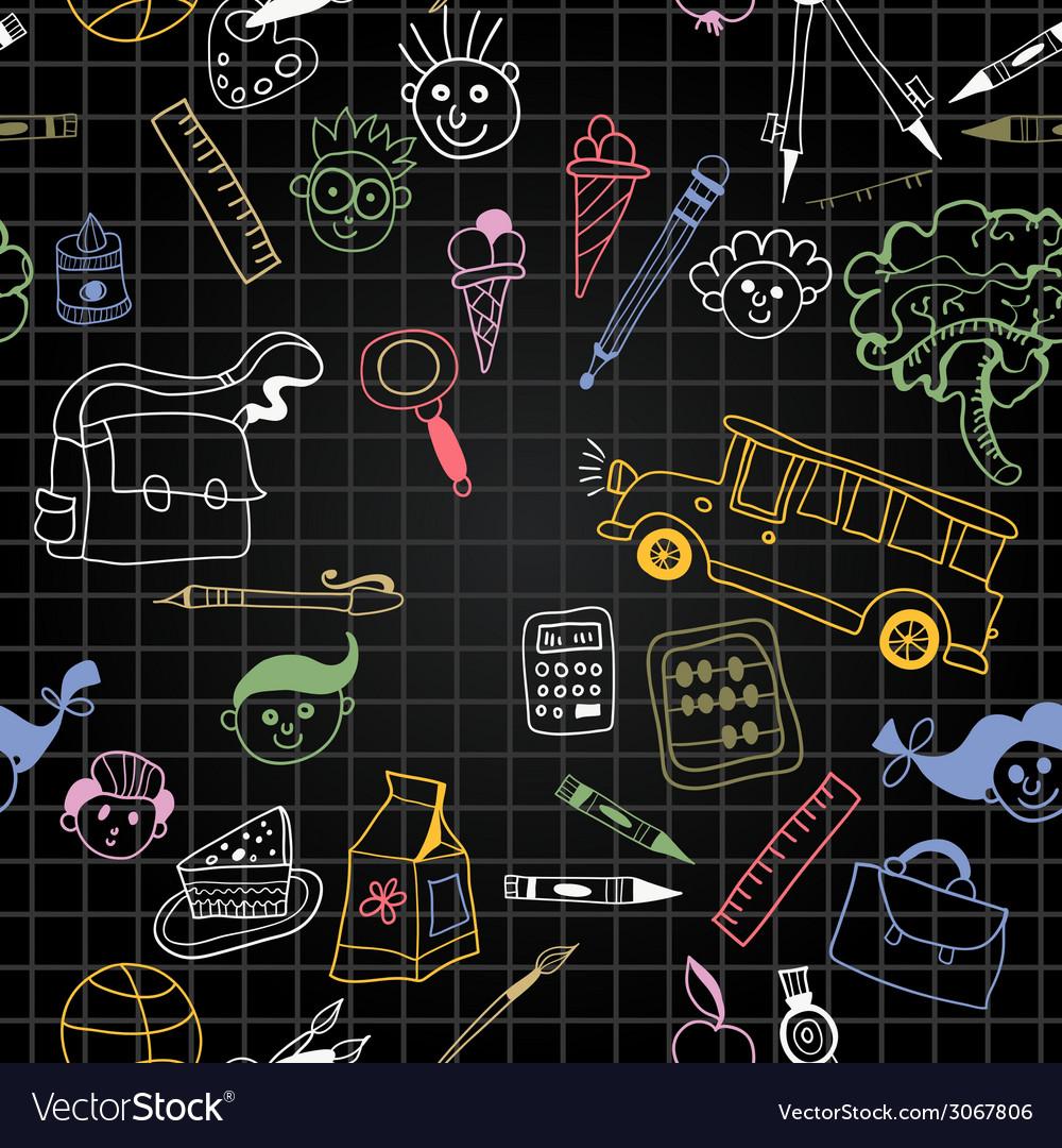 Chalkboard school seamless pattern vector | Price: 1 Credit (USD $1)