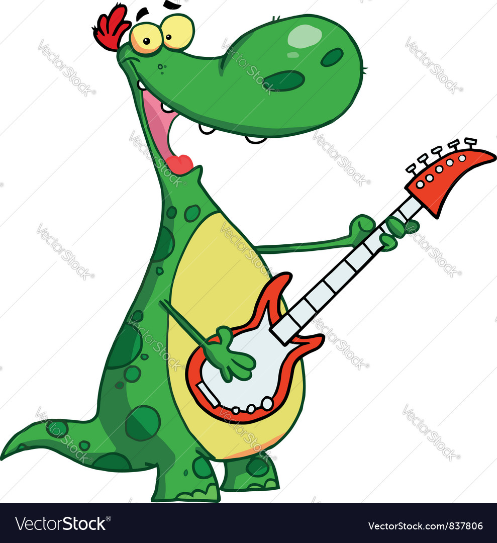 Dinosaur plays a guitar vector | Price: 1 Credit (USD $1)