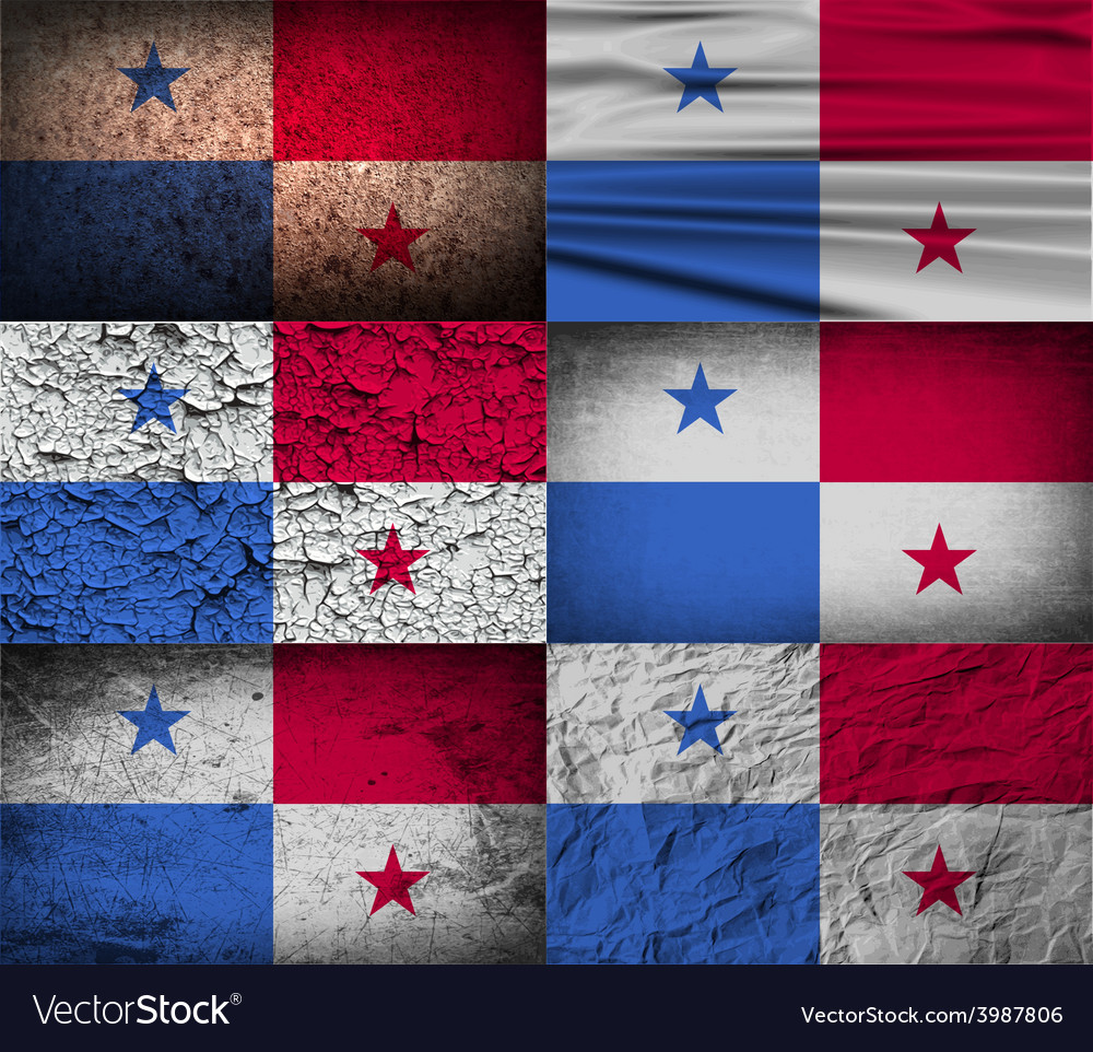 Flag of panama with old texture vector | Price: 1 Credit (USD $1)