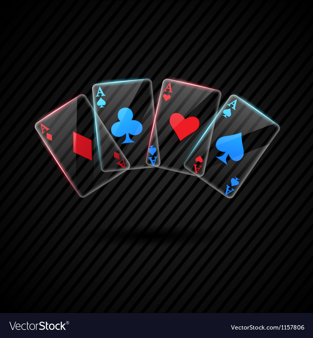 Four glass poker aces playing cards vector | Price: 1 Credit (USD $1)