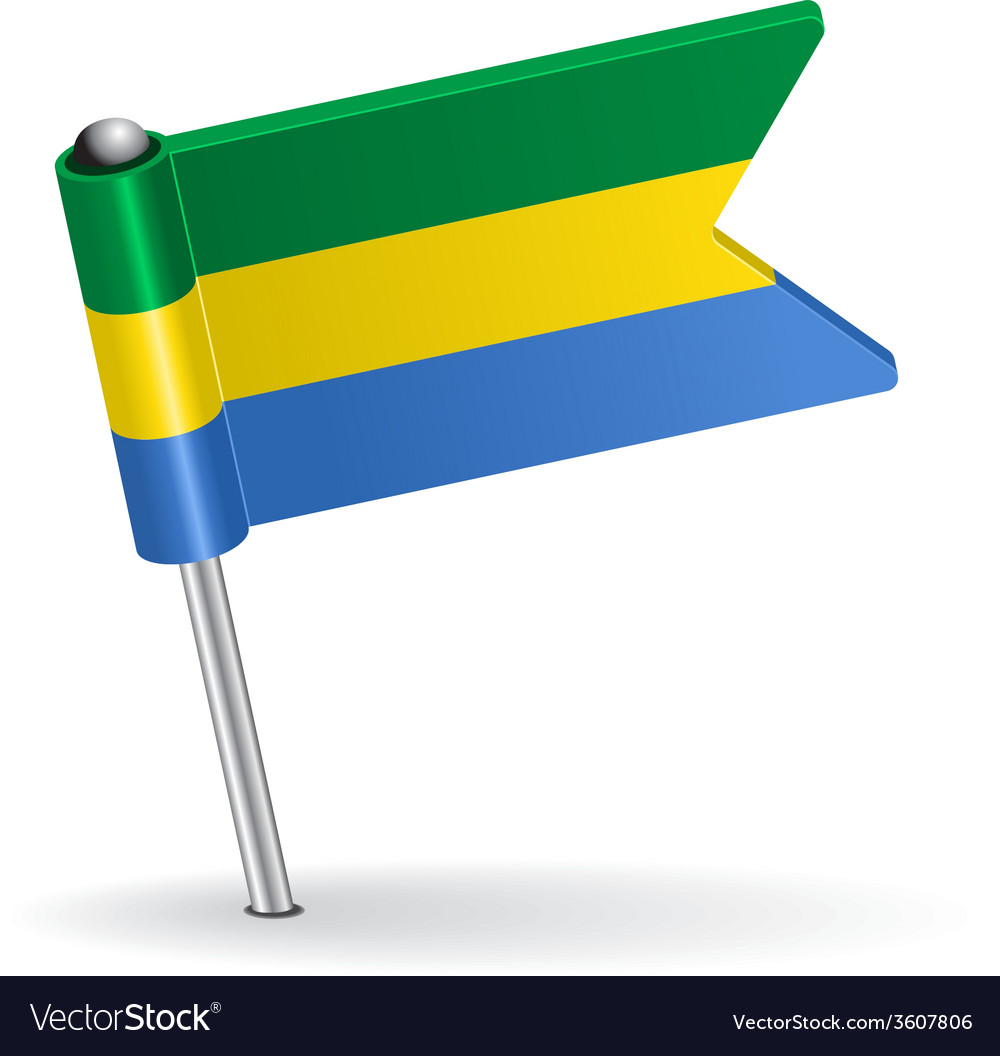 Gabon pin icon flag vector | Price: 1 Credit (USD $1)