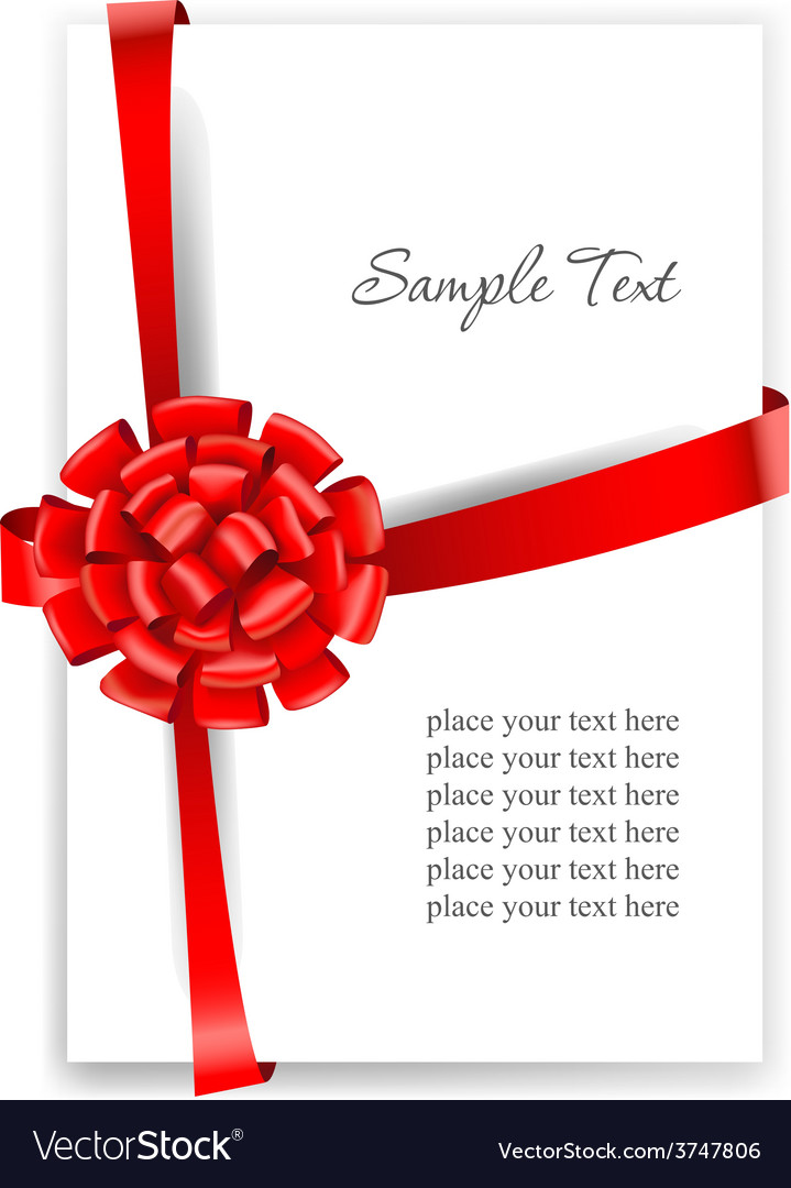 Greeting card with a red ribbon vector | Price: 3 Credit (USD $3)