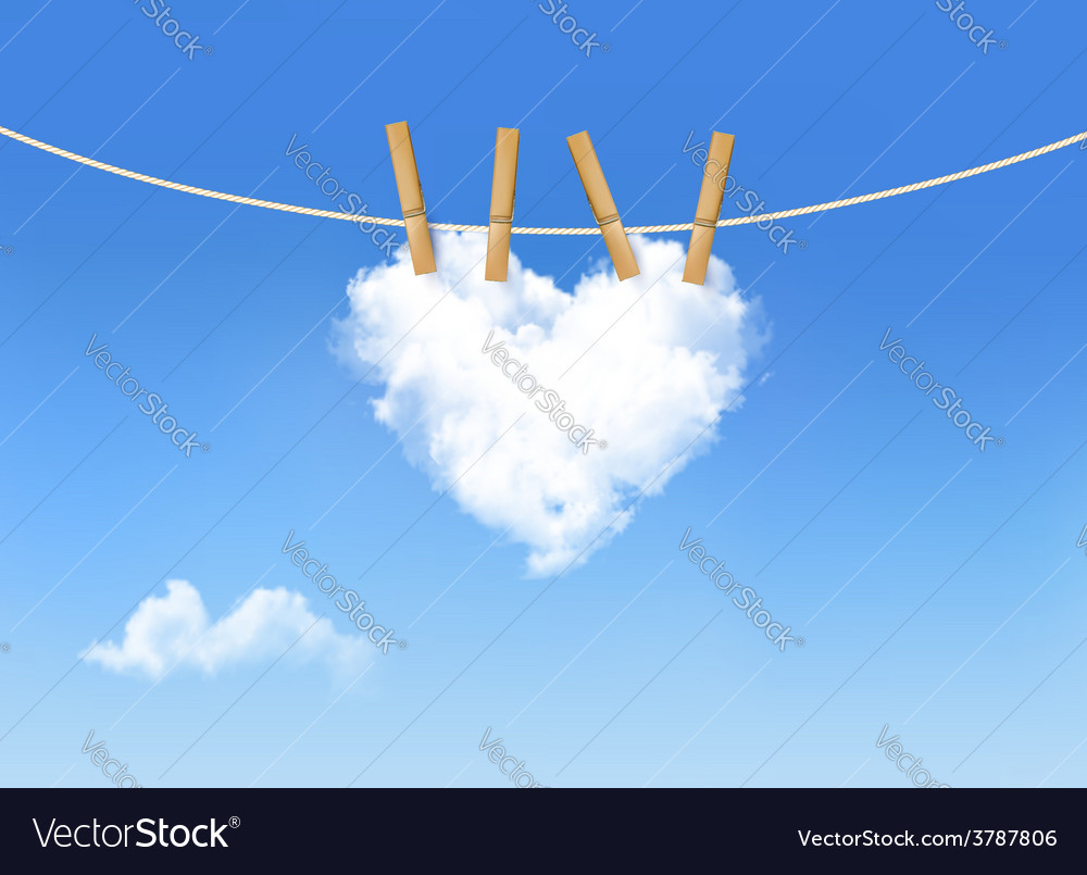 Heart shaped cloud on rope nature beautiful vector | Price: 3 Credit (USD $3)