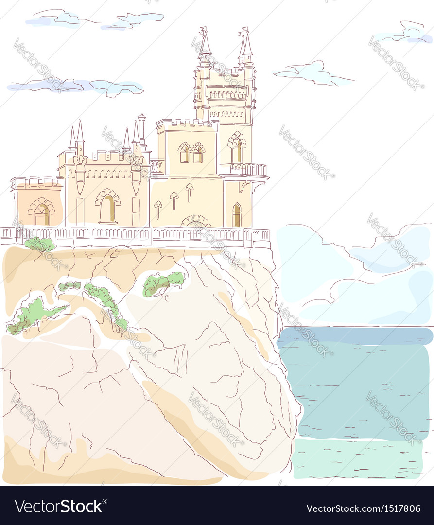 Old medieval castle hand drawn vector | Price: 3 Credit (USD $3)