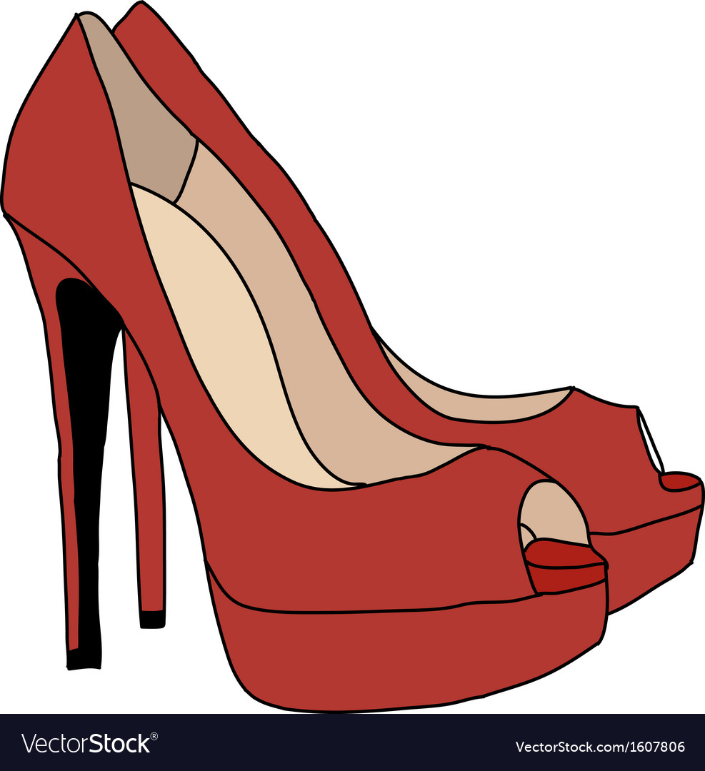 Red high heels shoes vector   Price: 1 Credit (USD $1)