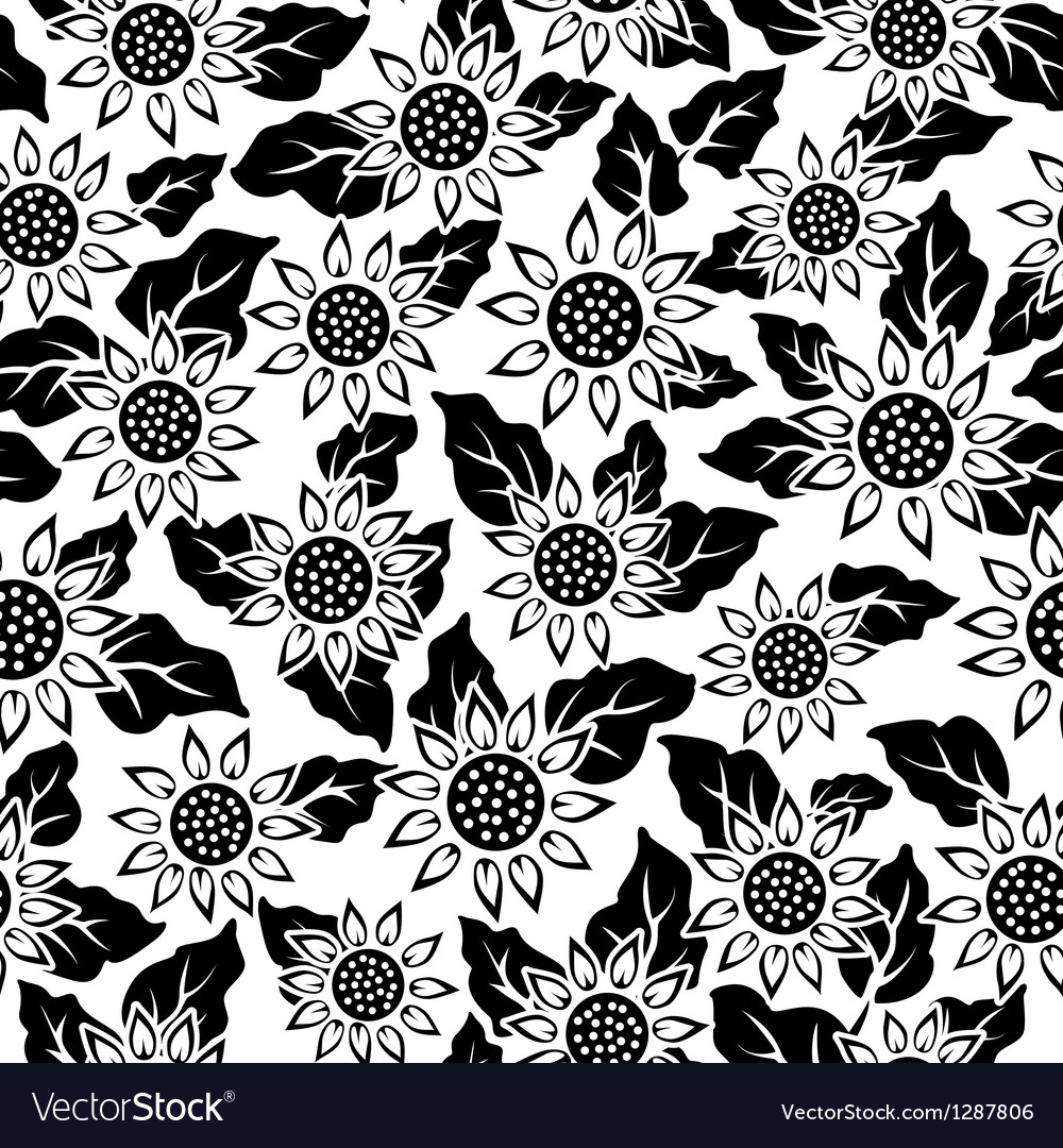 Sunflower flower black isolated seamless vector | Price: 1 Credit (USD $1)