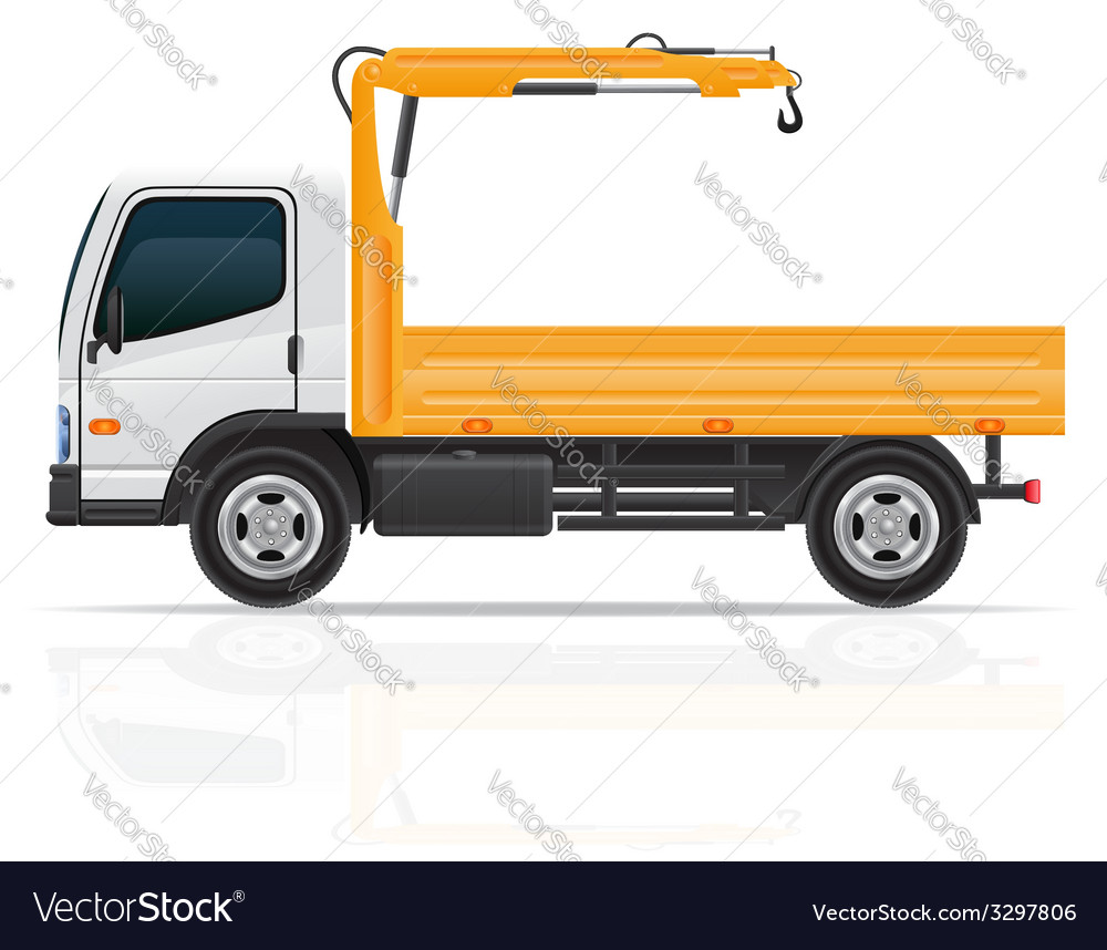 Truck with a small crane vector | Price: 3 Credit (USD $3)