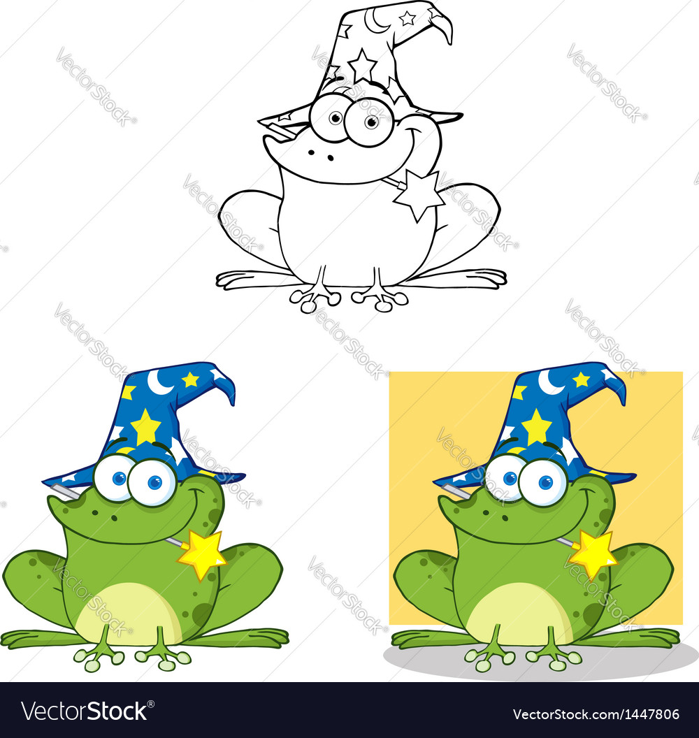 Wizard frog with a magic wand collection vector | Price: 3 Credit (USD $3)