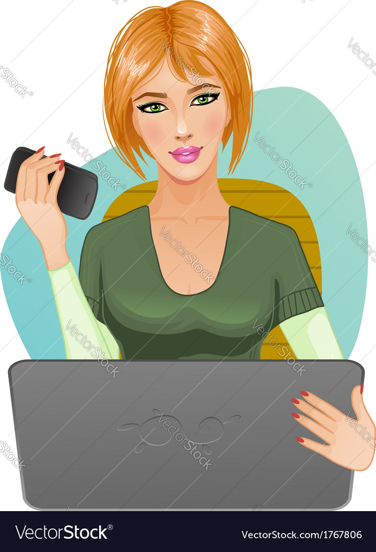Young woman at laptop with mobile vector | Price: 1 Credit (USD $1)