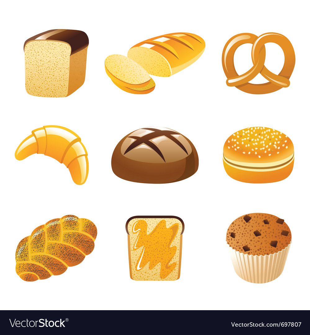 9 highly detailed bread icons vector | Price: 1 Credit (USD $1)