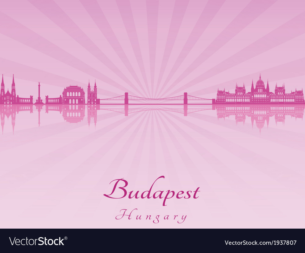 Budapest skyline in purple radiant orchid vector | Price: 1 Credit (USD $1)