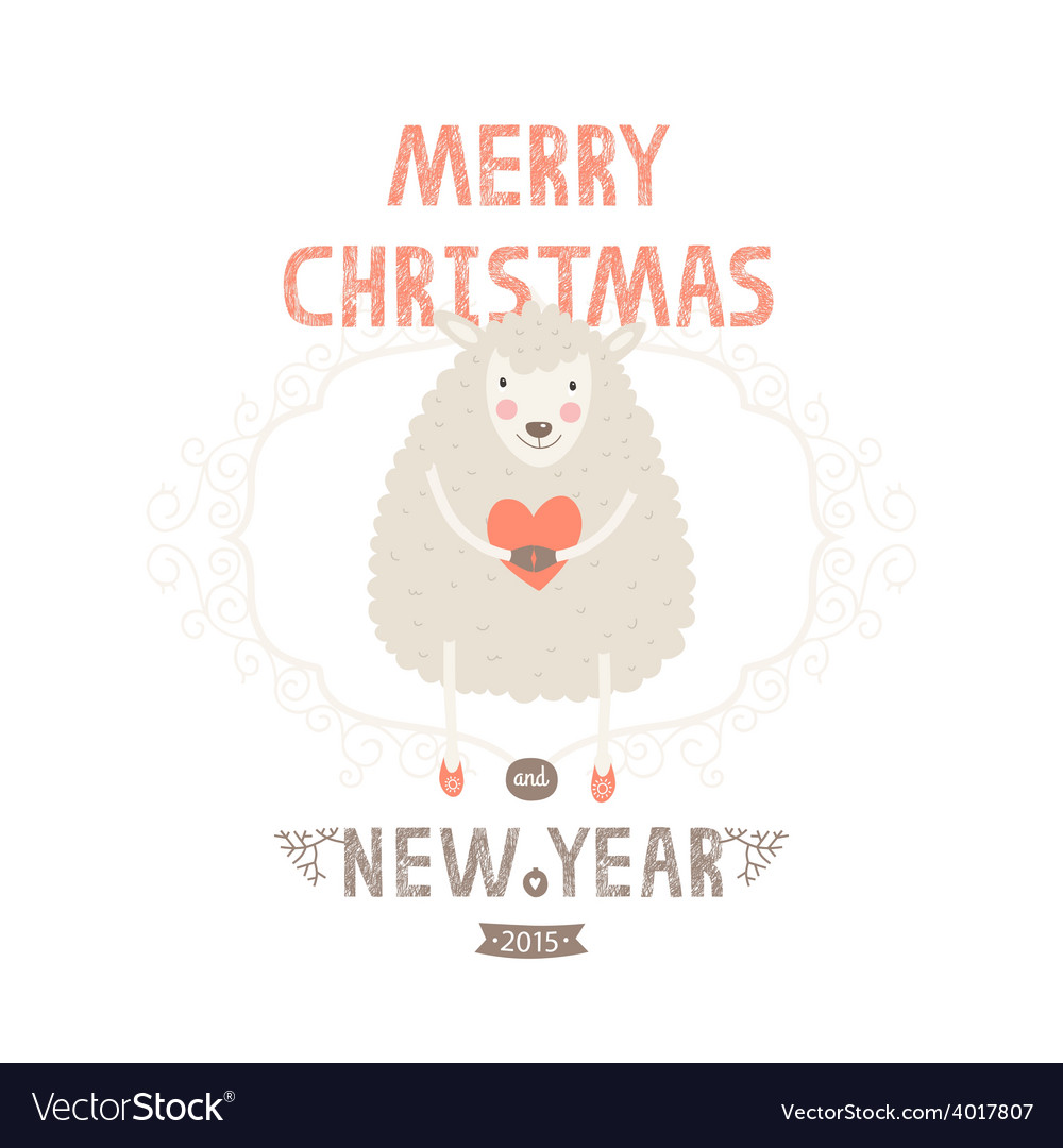 Christmas greeting card with cute sheep vector | Price: 1 Credit (USD $1)