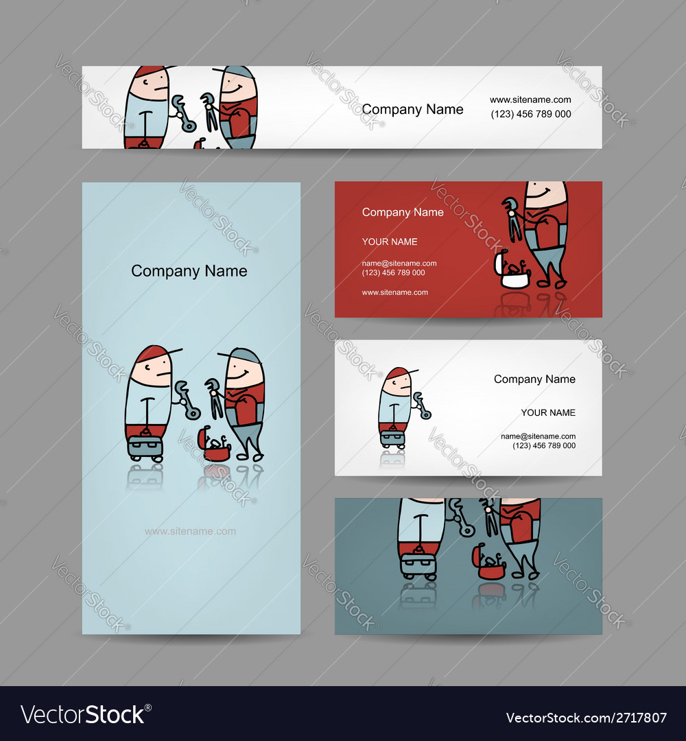 Design of business cards with workers people vector | Price: 1 Credit (USD $1)